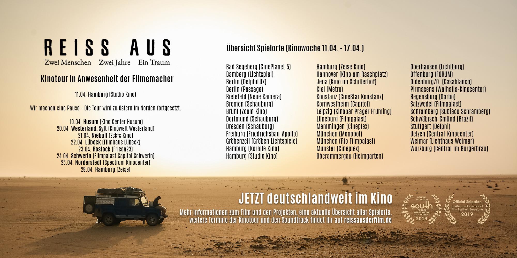 REISS AUS Spielorte Kinowoche 5 (11.04. - 17.04.)