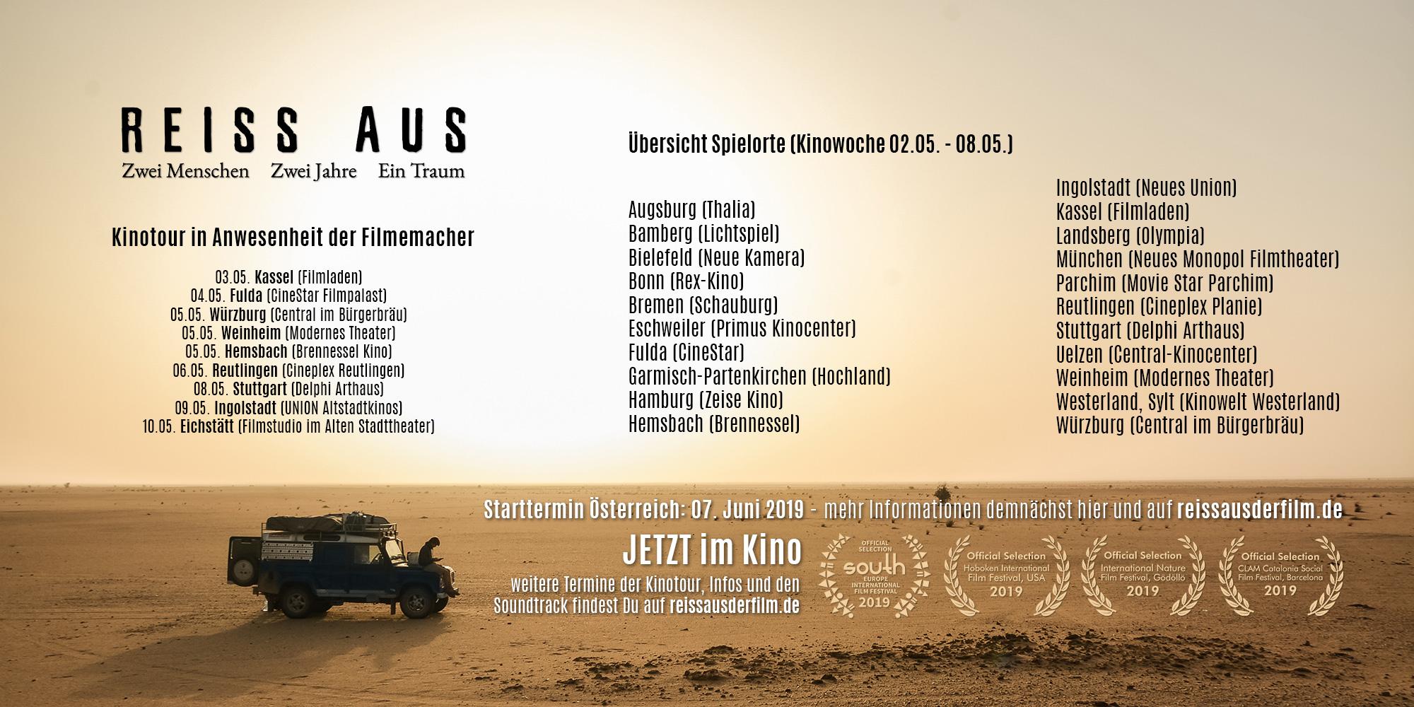 REISS AUS Spielorte und Termine Kinowoche 8 (02.05. - 08.05.)